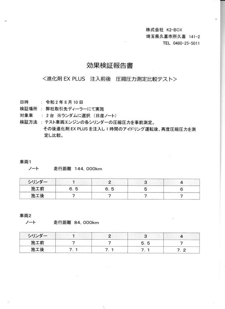進化剤施工車両のデーター 日産ノート
